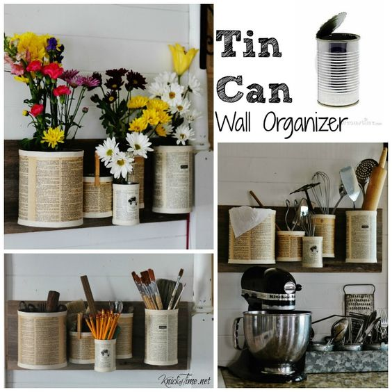 Tin Can Wall Organizer: