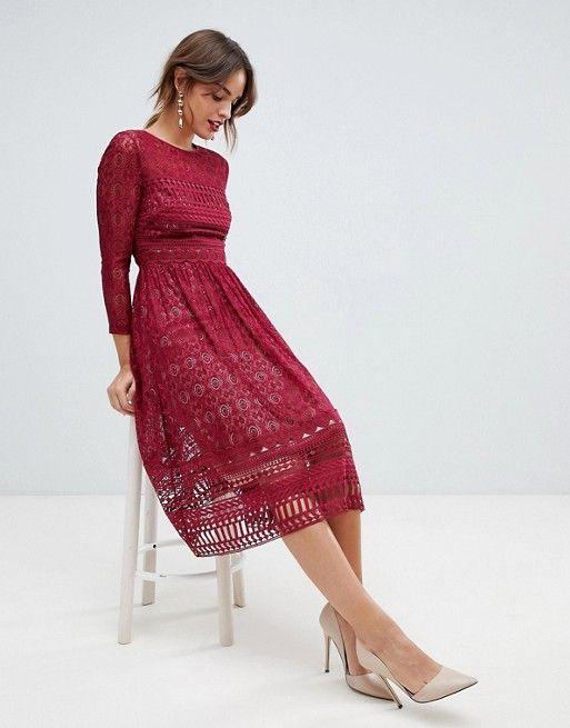 Asos Design Asos Design Premium Lace Midi Skater Dress Midi Skater Dress Party Dress Outfits Dresses