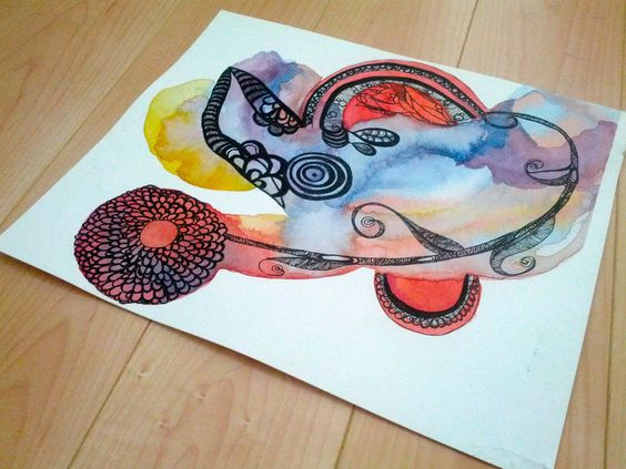 Abstract Flower in a World of Ink Doodles and Water Color. $100.00, via Etsy.