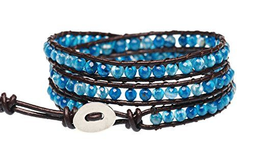 'Blue Star' Faceted Cut Agate Bead Genuine Leather Bracelet beautiful color of the active arrangement shows Unique Temperament who rounded on Metal oval plated Snap Button Lock Adjustable Handcraft...