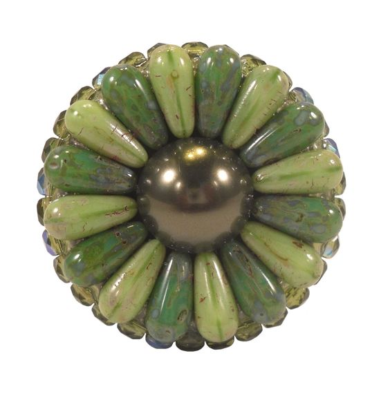 Unique Cabinet Knob Swarovski Pearl Czech Glass Beads Green ...