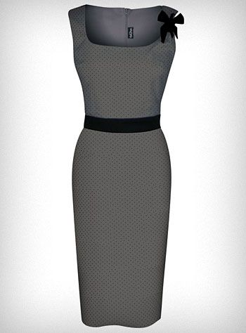 Polka Dot Grey Pin-Up Shimmy Dress w/ Scoop Neckline & Pencil Skirt