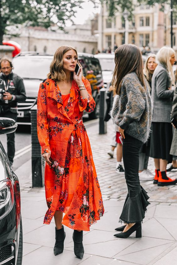 London SS18 Street Style II | Collage Vintage red dress flowers Olivia Palermo vestido rojo de flores
