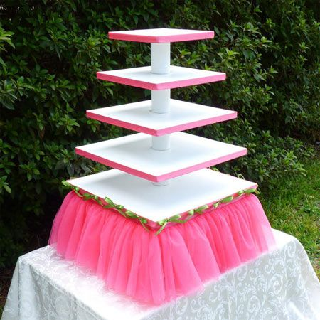 Easy DIY cupcake stand tutorials!! Many different styles! You could also use as an Hors d'oeuvres tower for appetizers, party favor displays, these can be really multi-functional. lots of possibilities. Make a plain one and then you can add ribbons, trim, rhinestones, paper edging, whatever to fit each occasion!