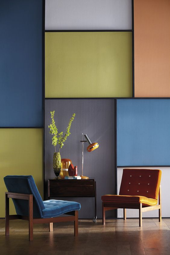 create an abstract wall by using harlequins stitch wallpapers in vibrant block colours - Walls By Design