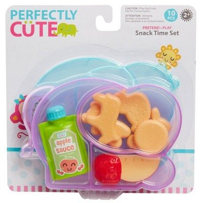 Perfectly Cute Snack Time 10pc Set Little Girl Toys Baby Doll Accessories Cute Baby Dolls