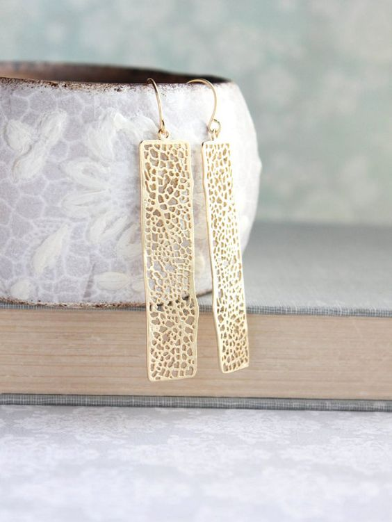 Unique Gold Earrings Long Lace Filigree Modern by apocketofposies
