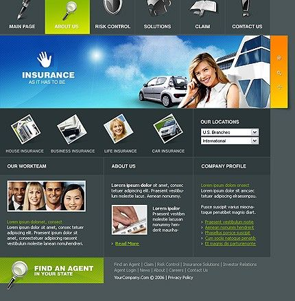 Insurance Agency SWiSH Templates by Hugo | Car Insurance Website ...