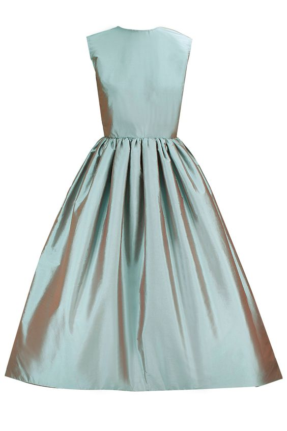 Powder blue grey asymmetrical flared dress with black bow belt available only at Pernia's Pop-Up Shop.