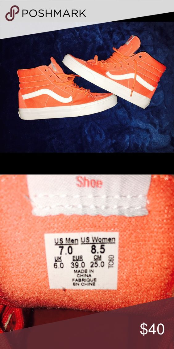 High top Vans Sneakers Orange High Top Vans Sneakers  Rarely worn ,Youth size 7/ Woman's 8.5 Best offer ‼️ I wear a 9 in Woman's and They Fit Perfectly  Vans Shoes Sneakers