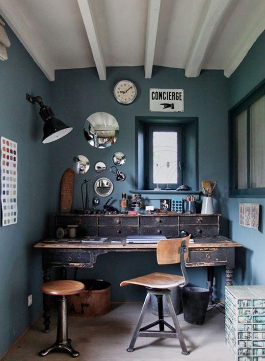 dark blue walls dark vintage office furniture desk and chair amazing vintage desks home office