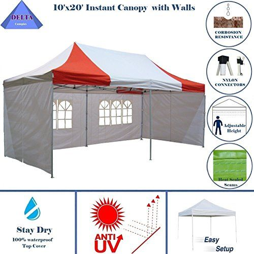 10x20 Ez Pop Up Canopy Party Tent Instant Gazebos 100 Waterproof Top With 6 Removable Sides Red White E Model By Delta Ca Party Tent Canopies For Sale Gazebo