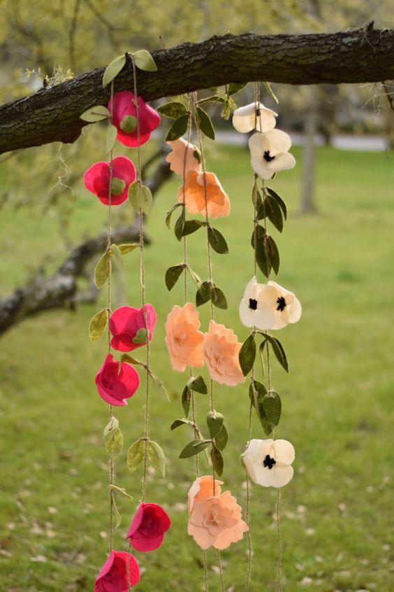 Felt Peony Flower Garland. Nx: