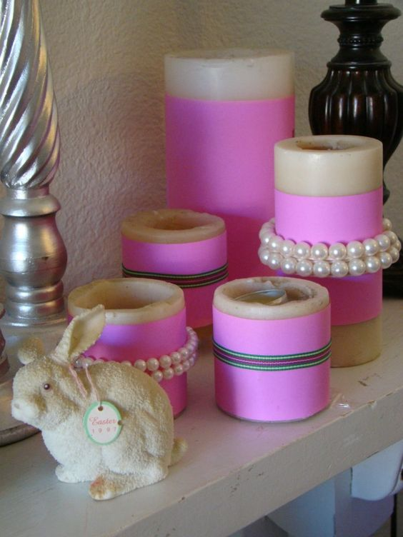 Spring Mantle Candles: