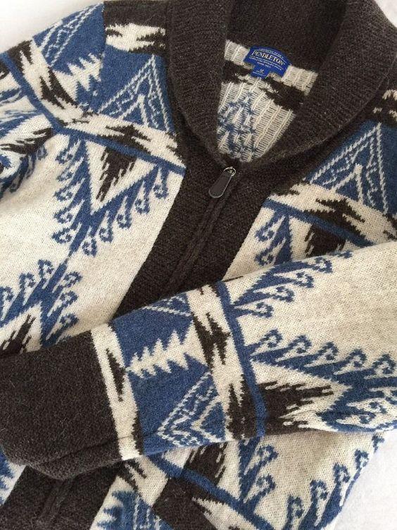 Pendleton Cardigan Sweater Women's M Petite Zip Up Beautiful Brown Blue White | eBay