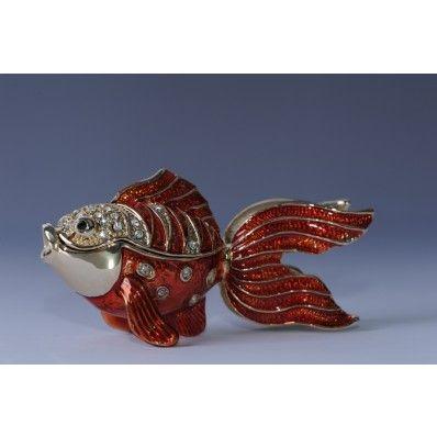 FABERGE RED FISH TRINKET BOX