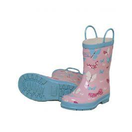 Botas de agua de niños con asas para calzárselas solos, con dibujos de mariposas.