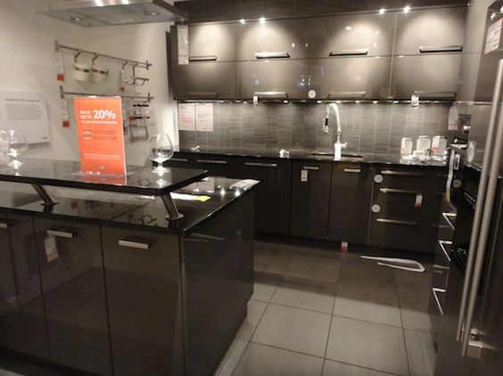 pictures of kitchens with ikea wood countertops ikea s abstrakt glossy dark gray lacquer. Black Bedroom Furniture Sets. Home Design Ideas