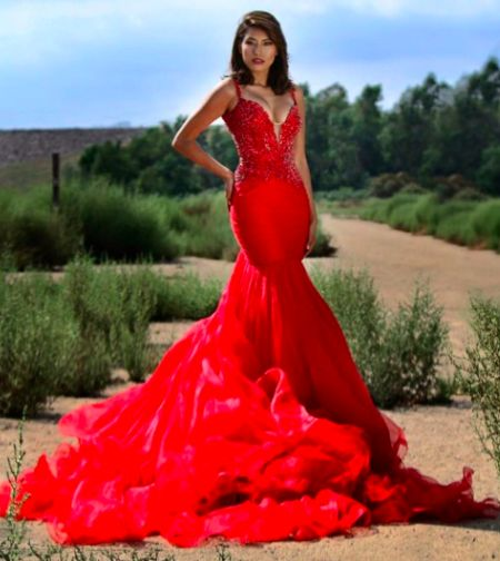 Sherri Hill custom couture gown. Red pageant gown. Red pageant ...