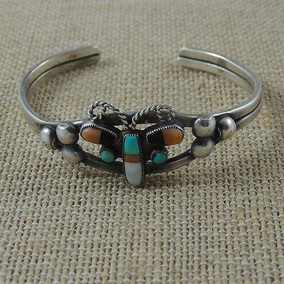 Best Very Old Zuni Early Butterfly Mosaic Inlay Bracelet Small to Medium Wrist