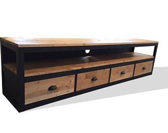 meuble tv style loft en acier et bois 4