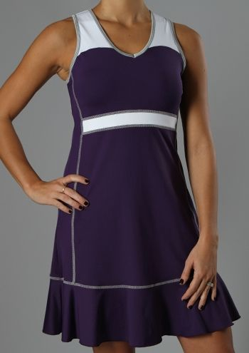 """Semi-fitted  V-neck  Three tone color combination  Detailed stitching  Ruffle along hem  Internal 360 bra w/removable padded support  """"StayDry"""" Wicking Microfiber Material  UV Protection UPF 50 - Blocks 98% of sun's UV rays  Anti-Bacterial Treatment  Dress length: 24 ½""""          $90.00      Product Code: 201102"""