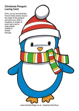 Christmas penguin lacing card