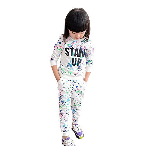 Kid Girls Boys Colorful Painted Letters Long Sleeve Sweater+Pants Sports Suit