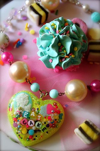 Eat Cake Cupcake Sprinkles and Glitter Resin Necklace | Flickr - LOVE How She Photographs her work :)