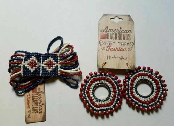 American Backroads Fashion Handcrafted Earrings and Matching Bracelet Red/ White #AmericanBackroadsFashionHandcrafted