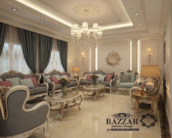 مجلس رجال نيو كلاسيك تم استخدام البانوهات وكرانيش السقف المدهبة لاعطاء نوع من الفخامة للمكان كما Luxury Living Room Decor Home Stairs Design Luxury Living Room