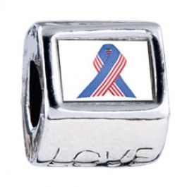 Patriotic Ribbon Photo Love Charms  Fit pandora,trollbeads,chamilia,biagi,soufeel and any customized bracelet/necklaces. #Jewelry #Fashion #Silver# handcraft #DIY #Accessory