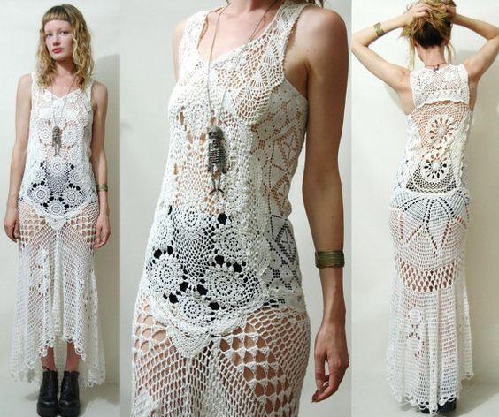 Crochet Dress VINTAGE Full LACE White Fishtail/Train Bohemian ...