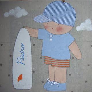 Cuadro infantil personalizado ni o surf para pedro - Cuadros decorativos para ninos ...