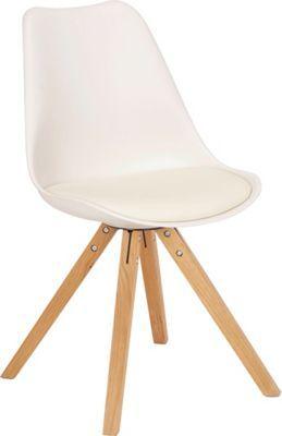 Dieser Stuhl erweitert Ihre Wohnung um eine attraktive Sitzgelegenheit. Sein kreatives Design erhält das Möbel durch die Kombination von geschwungenen und geradlinigen Formen. Der <b>weiße Lederlook</b> verleiht dem Stuhl eine reizvolle Note, Beine aus <b>Eichenholz</b> stehen in einem interessanten Kontrast dazu. Ob an Ihrem Esstisch oder als zusätzliches Sitzmöbel in Ihrem Wohnzimmer - dieser Stuhl kann sich sehen lassen!<br>