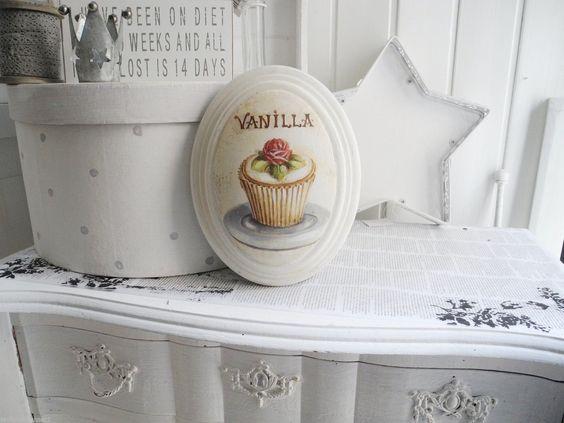 ovale incurvata bigné Vaniglia Cake Quadro Da Parete Quadro shabby chic Francese…