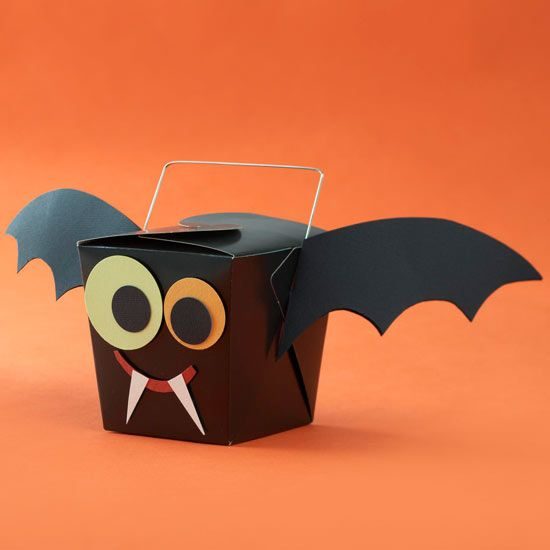 Bat Party Favor - so cute and simple! More frightfully fun ideas: http://www.bhg.com/halloween/crafts/frightfully-fun-halloween-ideas-with-bats-and-cats/