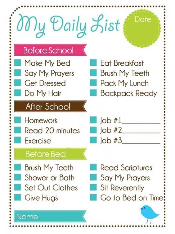 Printable Weekly Chore Chart Kids Daily List and Chore Chart - kids chore chart template