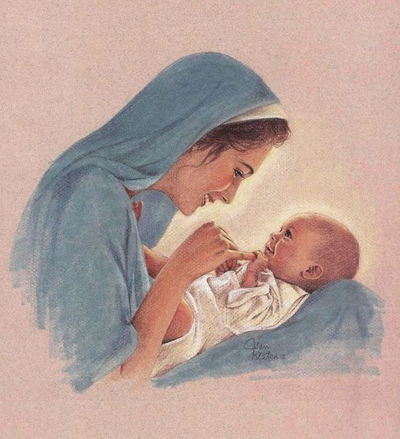 """One can't help but wonder their thoughts as they looked into each other's eyes, or about their interactions as Jesus grew from baby to toddler, toddler to little boy and from boy to man. What did Mary teach Jesus and what did He teach her? No doubt their relationship was one of devotion and unity as they obediently fulfilled the Father's will throughout their lives."" Art by Jean Keaton:"