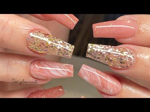 Glitter Rose Gold Champagne Acrylic Nails