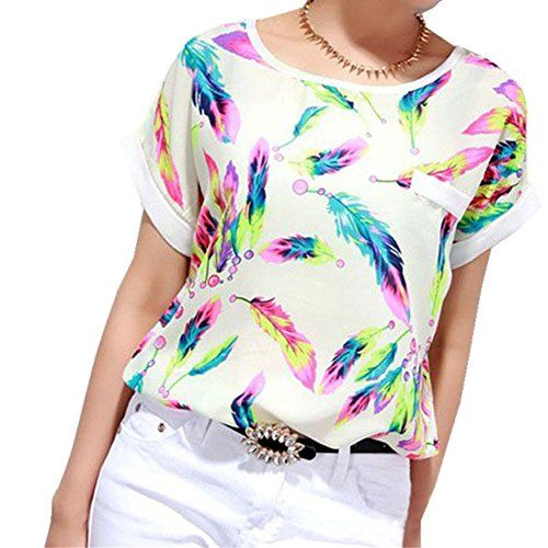 Baomabao Women Chiffon Blouse Casual Short Sleeve Loose TShirt Small * You can find more details by visiting the image link.