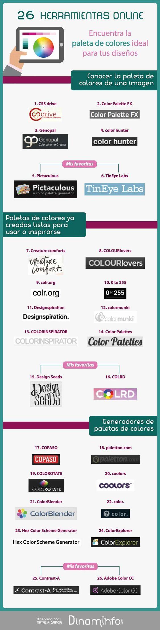 16 herramientas online para elegir la mejor Paleta de Colores #infografia #infographic #design | TICs y Formación