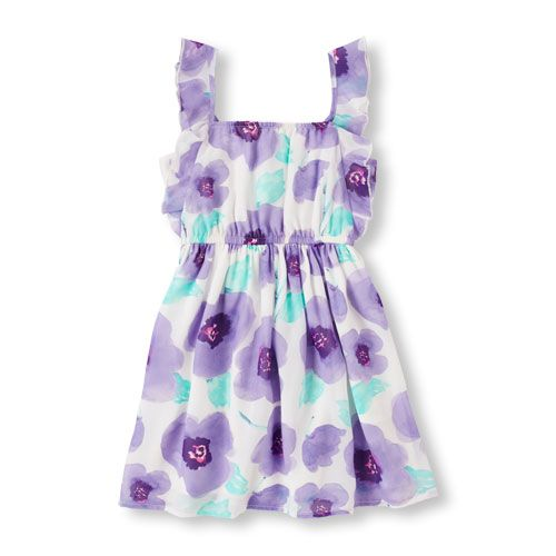Nevaeh- SIZE 7/8 Girls Sleeveless Ruffle Strap Floral Tank Dress