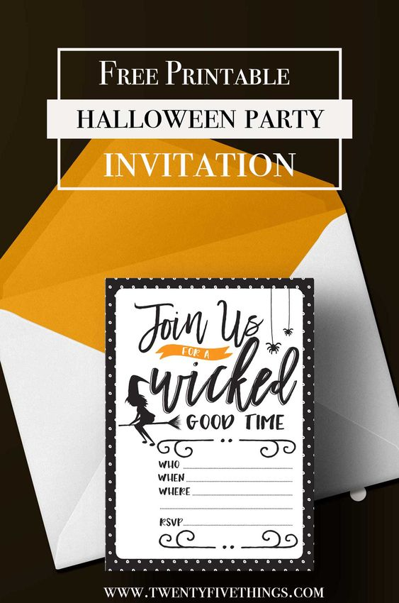 free halloween party printable invitation: Join us for a Wicked Good Time. Download and print this 5X7 Halloween party invitation for free!
