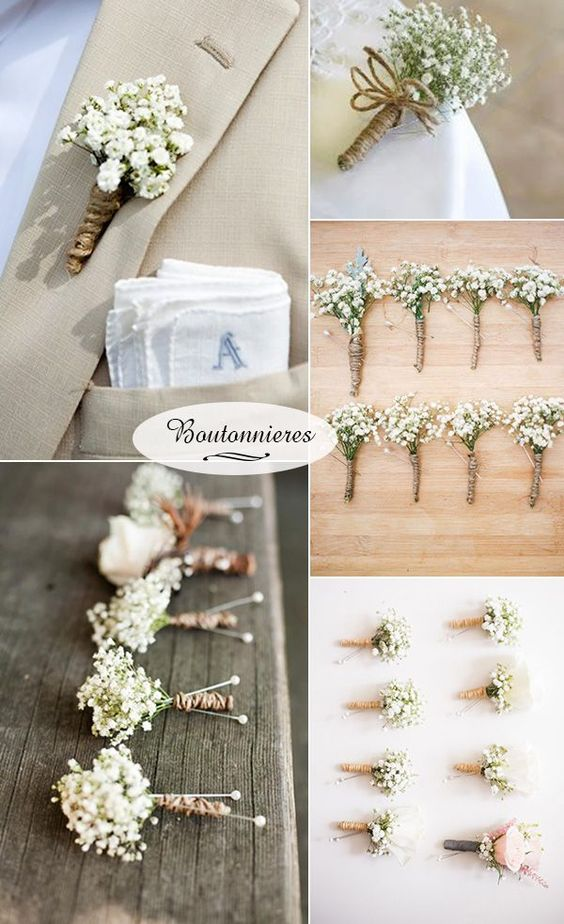baby's breath boutonnieres for rustic wedding ideas: