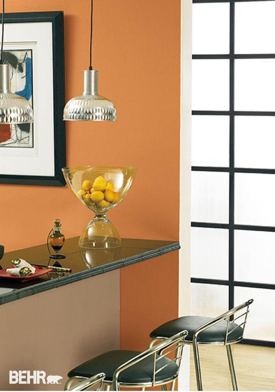 Paired with BEHR paint in Raffla Ribbon Amiable Orange