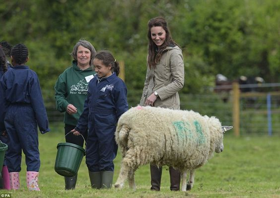 Her Royal Highness was also treated to a visit from a sheep who seemed to be protective over her young: