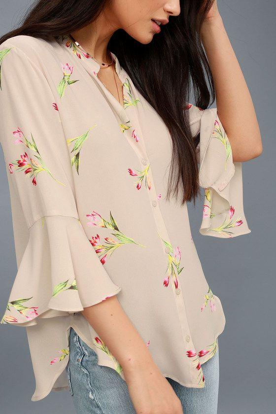 floral design shirt size 38 pink shirt pattern fr S three-quarter sleeves vintage shirt