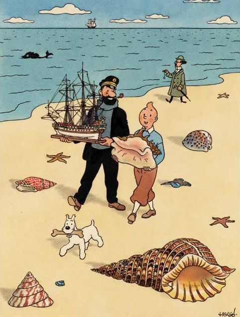 Tin Tin at the beach . Another illustrated character that has proved popular.:
