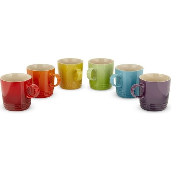 Le Creuset Rainbow ceramic mugs set of six (785 SEK) ❤ liked on Polyvore featuring home, kitchen & dining, drinkware, rainbow mug, le creuset mugs, ceramic mugs and le creuset